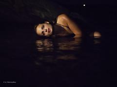 Dark portrait (George Marinakis) Tags: female woman portrait act feelings water wet reflections blue black red lowlight dark