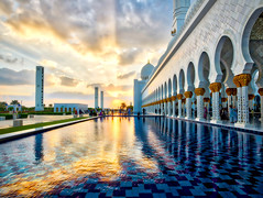 Sunset At The Mosque (Stuck in Customs) Tags: abudhabi hasselblad stuckincustoms treyratcliff uae temple horizontal colour color day daytime dailyphoto trey ratcliff rr symmetry symmetrical outdoor outdoors outside hdr hdrphotography hdrphoto aurorahdrpro aurorahdr macphun mosque white blue grey black brown gold sky clouds building worship religion people h5d hcd 28 februrary 2016 p2016 architecture