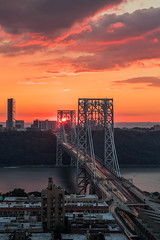 Hello from the Other Side (Strykapose) Tags: hellofromtheotherside newyorkcity newyork georgewashingtonbridge gwb manhattan hudsonriver newjersey sunset bridge dusk traffictrails headlights taillights lensflare canon 5dsr ef2470mmf28liiusm tvc34l ta3 clouds reallyrightstuff sun orange colorful suspensionbridge washingtonheights fortlee nyc nj i95 portauthorityofnyandnj route19 strykapose rooftops cables towers 8192016 birdseyeview thepalisades cliffs longexposure