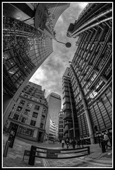 Lloyd's Building on right with Walkie Talkie in background. (jim_2wilson) Tags: sonya77 rokinon8mmf35 fisheye wideangle bw lloydsbuilding lloydsoflondon jimwilson hdr photomatixproversion505 dxoopticspro architecture london