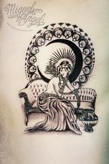Art Nouveau Custom tattoo (Miguel Angel tattoo) Tags: woman moon black detail sexy london eye art girl beauty face lines miguel tattoo illustration angel design eyes hands pattern hand body feminine patterns smoke style halo tattoos smoking artnouveau ornament gloves angels mucha organic custom delicate detailed maik twickenham tlc chaiselongue lin