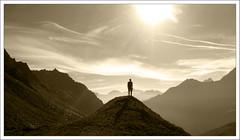 A solitary man (pepe50) Tags: granparadiso pianidinivolet pepe50 valledaosta vacanze escursionistierranti 2012 agosto mountain alpi alps italia italy vallèe controluce mac neildiamond johnnycash leisure party sunshade casparfriedrich flickr