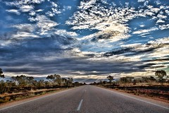 The Road to Halls Creek (huskyte77) Tags: road street trip travel november blue light vacation sky color tree green nature grass weather tarmac clouds creek canon landscape eos evening bush highway flickr day view desert cloudy outdoor oz great halls australia modified botanic outback gps aussie northern westernaustralia burned topaz 2470mm 2011 canoneos5d canonef2470mmf28l greatnorthernhighway