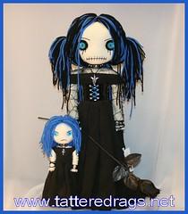 www.tatteredrags.net (Tattered Rags Creepy Rag Dolls) Tags: black art rose skulls pom doll gothic creepy gore poms