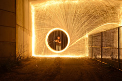 The Ringmaker           EXPLORED 9/14/2012: #493 (Christopher Wallace) Tags: lightpainting night fence circle virginia timelapse nikon ring explore spinning sparks vr blacksburg steelwool southwestvirginia 18200mm explored d7000 nikond7000
