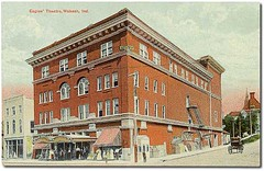 Eagles' Theatre in F. O. E. Building, Wabash, Indiana (Hoosier Recollections) Tags: houses girls horses people woman usa signs man color men history kids buildings advertising children awning clothing women indiana streetscene transportation pedestrians storefronts theaters buggy residential buggies wabash businesses theatres wabashcounty hoosierrecollections
