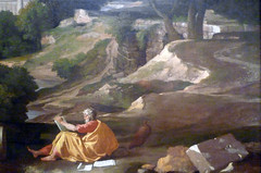 Poussin, Landscape with Saint John on Patmos, detail with John and road at right