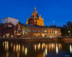Uspenski Cathedral - Helsinki- Finland (Shahid A Khan) Tags: travel reflection tourism church architecture finland photography helsinki flickr forsale shot cathedral image capital picture pic landmark images illuminated bluehour russian orthodoxchurch uspenski 2470f28 europeancapital canon5dmark2 northereurope sakhan shahidakhan sakhanphotography