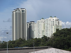 The Peak & The Peak Vista (thienzieyung) Tags: new trees windows roof sky terrain green clouds buildings view pyramid sunny places hills coastal jungle malaysia balconies kotakinabalu tall geography awana development properties sabah condominiums ridges towering cladding dominating revealed toppedout thienzieyung peakvista premiumtower