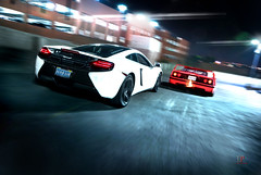 In Pursuit | McLaren MP4-12C & Ferrari F40 (Folk|Photography) Tags: new old light lightpainting motion night photography long exposure downtown shot angle folk garage parking flames nevada wide sigma ferrari exotic turbo mclaren rig reno gil 1020mm supercar v8 pursuit flares spitting f40 in hypercar folkphotography mp412c