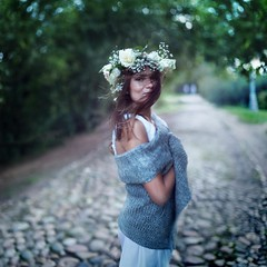 Vicky (Alexander Zaitsev) Tags: park flowers portrait color green girl beautiful canon square 50mm movement dof bokeh best squareformat thebest flovers diadem alexanderzaitsev