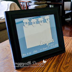 Birth Announcement Frame Vinyl/Cardstock (Scrappycath) Tags: baby home silhouette handmade birth vinyl announcement gift frame decor cardstock alteredproject handmadephotoframe