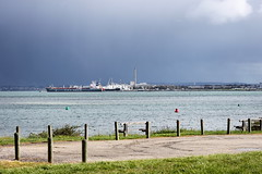 The storm on its way to the MCG (LittleMok) Tags: red sky storm green clouds bay seat ships australia victoria carpark markers channel corio 29sept12