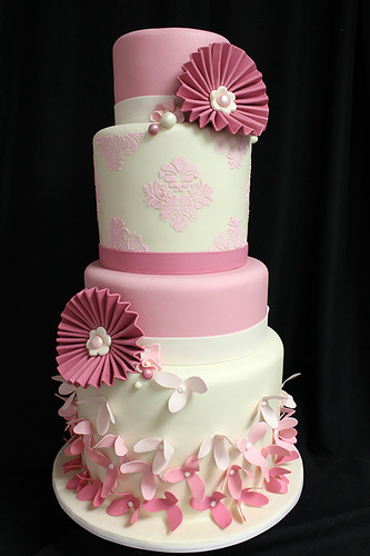 Shades of Pink and Paper Flower Wedding Cake