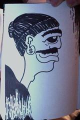 Melting Esteban (DaltonHarris) Tags: white man black sign book sketch melting profile dollar marker sharpie mustache beanie esteban