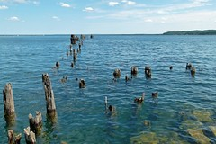 Old Old Dock (PGK88) Tags: dock abandoned seascape blue perspective derelict harbor posts wood rot decay old