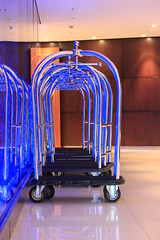 Ready to Roll! (travelgirl1096) Tags: luggagecart blue reflection luggage parkplazahotel london