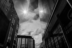 When Day Became Night (darren.cowley) Tags: whendaybecamenight nottingham city urbanlandscape monochrome architecture abstract lines sunbeam reflections darrencowley highcontrast trinity cloudformations