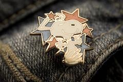 Never stop smiling. (Shona T) Tags: snoopy macro macromondays stars badge pin sigma105 vintage peanuts dof smile cartoon