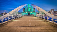 Footbridge, Salford Quays (Ian S Armstrong) Tags: uk england manchester salford buildings architecture longexposure hdr photomatix tonemap urban city cityscape