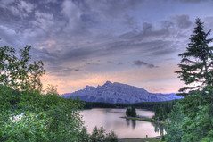 Two Jack Lake sunrise on Mt Rundle (pj'sphoto) Tags: hdrperrysawatzky banff jasper albera canada national parks two jack lake sunrise mount rundle