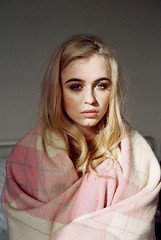 (J-Melody) Tags: blanket light 35mm youth image indie indoor photo photography portrait pink people pastel hair grain girl film fashion face style analog analouge canon vintage beauty model