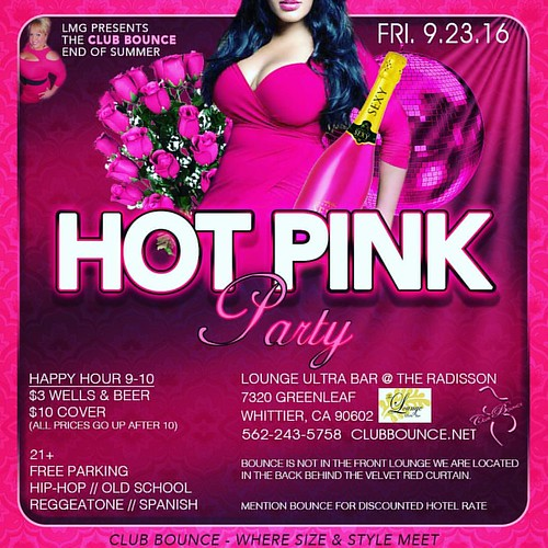 Mark your calendar Friday September 23rd for the club bounce end-of-summer hot pink party!  7320 Greenleaf Ave , Whittier Ca   First come first serve. No reservations  #clubbounce #lisamariegarbo #bbw #bigbooty #bigboobs #sexybbw #bbwpics #curvy #plussize