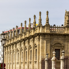 Seville Cathedral (Hans van der Boom) Tags: europe spain vacation holiday seville sevilla alcazar palace gardens church cathedral facade repetition turrets sp