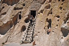 Entrance to a cave dwelling, Bandelier National Monument in New Mexico (goodhike) Tags: bandelier national monument bandeliernationalmonument nationalmonument tyuonyi pueblo tyuonyipueblo indian pajarito plateau jemez mountains newmexico nm stair stairs