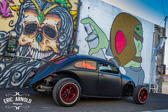Chucky gets Sprayed (Eric Arnold Photography) Tags: vw volkswagen volksrod custom vehicle car auto automobile automotive outdoor blue sky ratrod hot rod mural indian native american grafitti graffiti dtlv downtown vegas las nv nevada 2016 1971 paint spray krylon artist