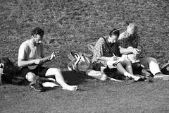 park life 04 (byronv2) Tags: park edinburgh edimbourg street peoplewatching candid blackandwhite blackwhite bw monochrome princesstreet princesstreetgardens newtown man woman music musicians ukulele people sit sitting seated