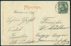 "Archiv H333 ""Knaben-Exerzierschule zu Borna"", (back) Poststempel vom 10. Mai 1910 (Hans-Michael Tappen) Tags: archivhansmichaeltappen postkarte borna leipzig gruskarte handschrift text briefmarke poststempel stamps 1910 1910er 1910s"