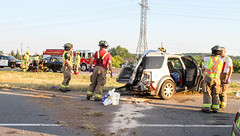 QEW Multi-vehicle accident (Shane Murphy - Photojournalist) Tags: qew highway accident crash collision mva mvc motor vehicle multi multiple injuries damage grimsby lincoln ontario canada fire department ems paramedic opp police nrps interstate