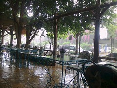 Averse de Mai. (Gilbert-Nol Sfeir Mont-Liban) Tags: averse mai pluie eau rain may water mouill wet kesserwan montliban liban mountlebanon lebanon rue street chaises chairs tables trottoir caf restaurant arbres trees printemps spring