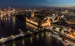 Aerial Westminster Twilight (DSC00266-Edit) (Michael.Lee.Pics.NYC) Tags: london england unitedkingdom westminster palace parliament bigben clocktower thamesriver bridge aerial westmisterabbey cityscape architecture londoneye reflection night twilight bluehour sony a7rm2 fe2470mmgm