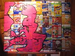 (splinter one) Tags: artwork art peinture painting canvas toile pochoir stencil rose pink dchets waste ordures garbage emballage packaging paquet crales cereals kids children enfant petitdjeuner breakfast groscontour contouring splinter86