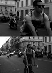 [La Mia Citt][Pedala] (Urca) Tags: portrait blackandwhite bw italia milano bn ciclista ritratto biancoenero 2012 bibicletta pedalare 5066 dittico nikondigitalefilippetta