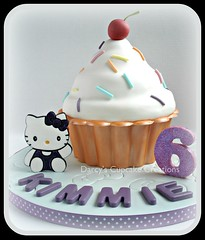 Hello Kitty Giant Cupcake (Darcy's Cupcake Creations) Tags: hello giant cherry candy kitty cupcake melt lustre