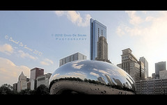 "The Cloud Gate (a.k.a. ""The Bean"") (Far & Away (On assigment, mostly off)) Tags: park city usa cloud chicago reflection art metal america illinois gate technology mercury united unitedstatesofamerica north windy bean millennium scifi sculture states melted kapoor navel futuristic seamless"