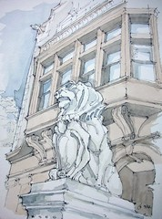 Brooklyn Society for Ethical Culture (James Anzalone) Tags: new york city nyc blue urban sculpture brown detail brick window architecture illustration brooklyn ink cat watercolor painting james bay sketch carved gate arch drawing townhouse bracket perspective lion landmarks parkslope landmark historic line september gargoyle bow gothamist freehand commission vignette rendering preservation earthtones prospectparkwest carnetdevoyage pleinair baluster anzalone nyclpc urbansketchers parkslopesketch
