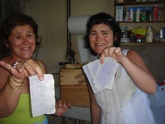 Corrine, Coralie de Bouard find it  funny my tasting notes were in the wash