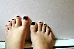 not exactly summer colors. (ValerieMcGovern) Tags: black cold feet dark toes nail polish veins