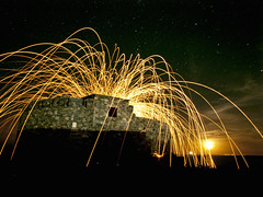 Fort Doyle on Guernsey with steel wool spinning (neilalderney123) Tags: fire guernsey