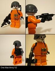 one man army v2 (pawk) Tags: man up army mod war paint gun lego gear suit change ba custom ammo netting grenade v2 ammunition mods melee apoc onw onemanarmy orangesuit apoclypse brickarms