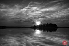 High Island (Astotin Lake) (Kasia Sokulska (KasiaBasic)) Tags: trees sunset sky bw sun lake canada clouds landscape island nationalpark high alberta elkisland astotin