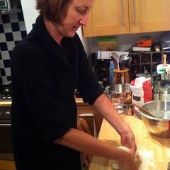 Watching @wordridden make pizza dough.