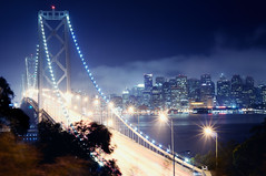 bay bridge at night (andrew c mace) Tags: sanfrancisco longexposure skyline night downtown cityscape treasureisland financialdistrict baybridge yerbabuenaisland nikkor50mm colorefex nikoncapturenx nikond90