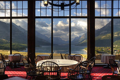 Table With a View (dbushue) Tags: lake mountains nature clouds landscape hotel nikon historic albertacanada 2012 princeofwaleshotel nationalhistoricsite watertonlakesnationalpark upperwatertonlake canadaunitedstatesborder d7000