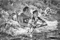 Who Needs To See To Have Fun? (Scott Sharick) Tags: ocean boy beach water sport hawaii us surf waves pacific waikiki unitedstatesofamerica father young son honolulu rough fatherandson poeple bodyboard
