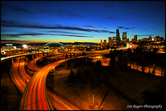 The View (* Ian Rogers *) Tags: seattle city longexposure bridge blue sunset red sky orange sun blur set skyline traffic line slowshutter 12thavenue 12th seattlesunset rizalpark drjoserizal 12thave rizalbridge sunsetseattle 12thavebridge drjoserizalbridge 12thavenuebridge 12thbridge